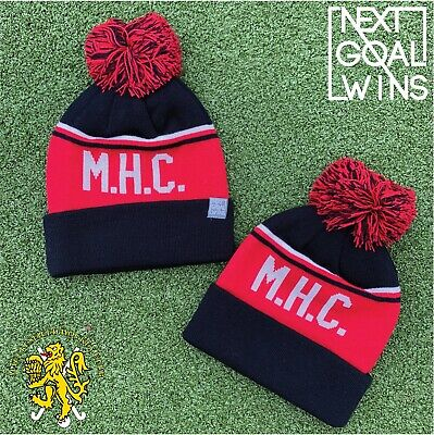 Knitted Bobble Hat - Unisex - Macclesfield Hockey  - Black/Red/White