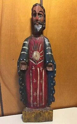 Antique Hand Carved Folk Art Wooden Hand Painted Jesus Christ Figure French