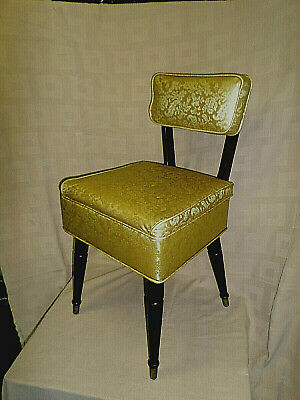 3239M Vtg Mid Cent Mod Sewing Chair w/Storage Seat Gold Tapestry Vinyl CLEAN !!