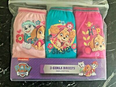 Girls Paw Patrol 3 Pack Pants Knickers Briefs Age 3-4 years Cotton Pink Aqua