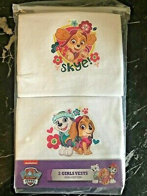 BNIP 2 Pack PAW PATROL Girls Vests 100% Cotton Skye & Everest Age 2-3 yrs White