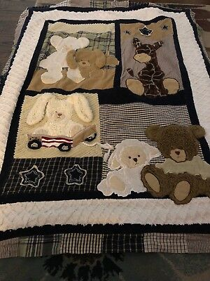 Forever Friends Baby Boy Crib Blanket Comfor Bears Bunny Lamb Neutral Colors
