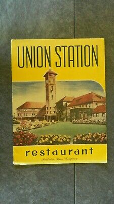 Vtg Union Station Restaurant Portland, Oregon Menu Barkalow Bros. Company