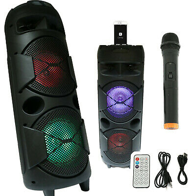 1200 WATTS Portable Powered DJ Speaker Work with iPhone Bluetooth AUX USB SD MIC