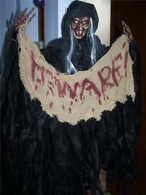 Halloween Prop Decoration Scary Hanging Witch Poseable Scary Face W/Sign Beware