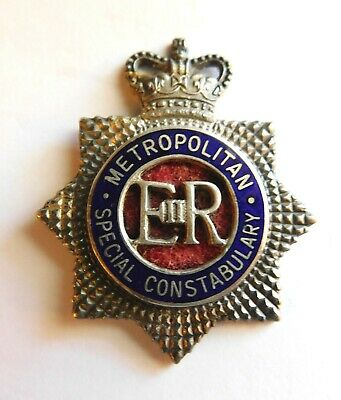 Metropolitan (London) Special Constabulary Inspector & Above Sterling Hat Badge!