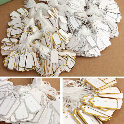 500 x Paper String Price Tag Tie Silver Gold Border Label Jewellery Display