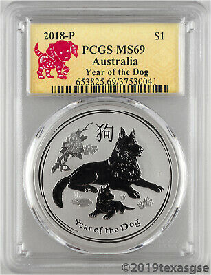 2018-P $1 Australia Year of the Dog 1oz Silver Coin PCGS MS69