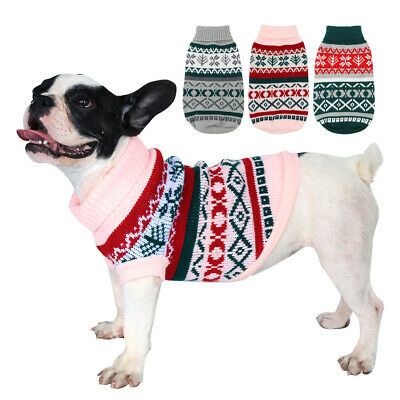 Christmas Sweater Small Dogs Cats Winter Clothes Warm Pet Puppy Jumper Chihuahua