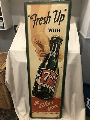 "Very Rare Large Vintage 1950 7Up Soda Pop Gas Station 55"" Embossed Metal Sign Ex"