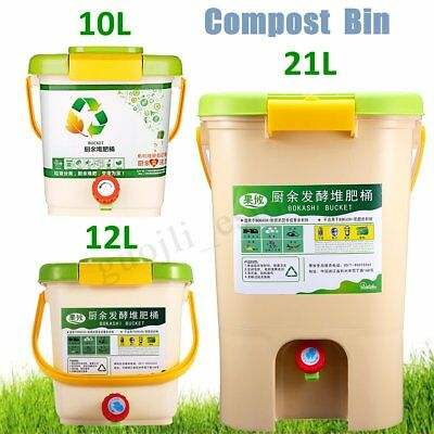 10-21L Recycle Composter Aerated Compost Bin Bokashi Bucket Kitchen Food  K