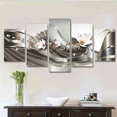 5pcs Flower Abstract Art Canvas Painting Print Picture Wall Hanging Home  K