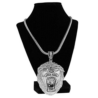 "Huge Lion Head King Size Heavy Big Hip Hop Pendant Silver Tone 36"" Franco Chain"
