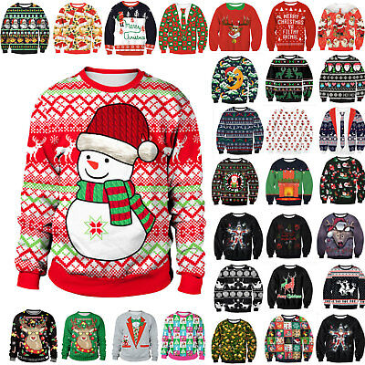 Mens Womens Xmas Ugly Jumper Sweatshirts Unisex Christmas Sweater Pullover Tops