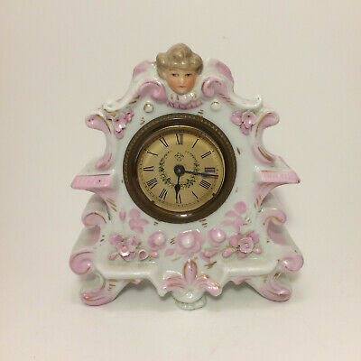 Vintage Ansonia Small  Porcelain Clock (For Parts)