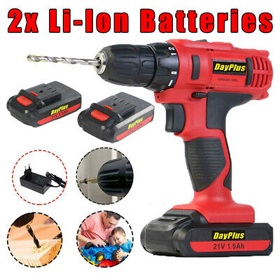21V Cordless Drill Driver Set Li-Ion Electric Screwdriver 2 Batteries+Carry Case