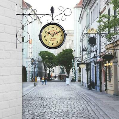 Double-sided Vintage Wall-Mounted Clock Bell Outdoor Hanging Clock With Bracket