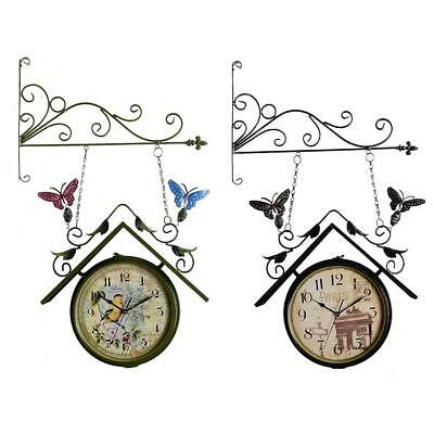 Double Side Wall-Mount Clock Outdoor Hanging Bell With Bracket US Style Home Use