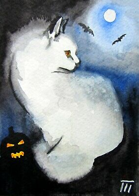 ORIGINAL ACEO painting, Sketch Card, watercolor,white cat,animals,helloween