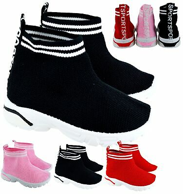 Kids Childrens Girls Boys Hi Top Runner Trainers Sock Canvas Sports Sneakers Sz