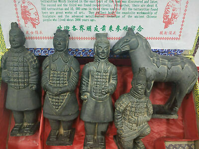 5 Asian Chinese Vintage Collections Ceramics Statue Terra Cotta Warriors
