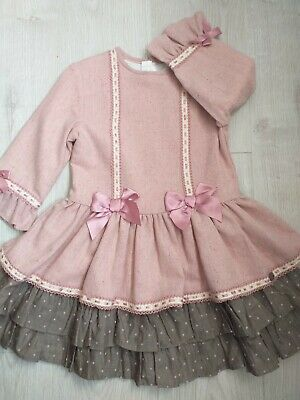 *New Winter Girls spanish Romany Dress DUSKY PINK with Lace bows ruffel Age 8