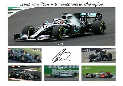 Lewis Hamilton Signed 2019 World Champion Autographed F1 Print