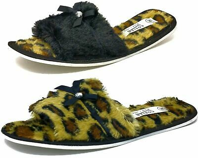Ladies Womens Teens Black Leopard Print Fluffy Slippers Girls Mules Size 3-8
