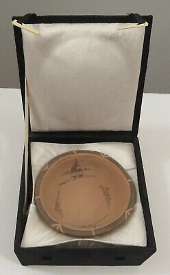 Stamped Chinese hand painted terracotta bowl in presentation case