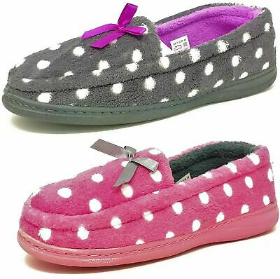Ladies Womens Teens Grey Pink Faux Fur Polka Dot Slippers Girls Mules Size 3-8