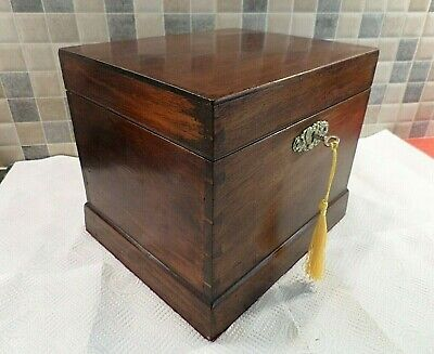 VICTORIAN 19thC SOLID MAHOGANY BOX - GOOD SIZE IDEAL FOR STORAGE - LOCK & KEY