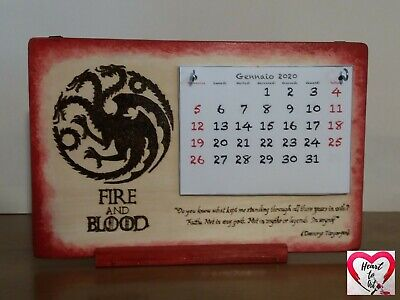 Calendario 2020 in legno tema Game of Throne (Il Trono di Spade) casa Targaryen