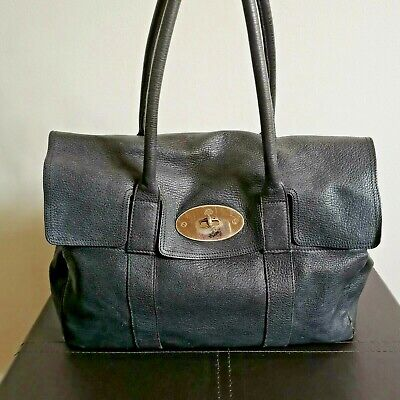 100% Authentic Large Mulberry Black Buffalo Leather Bayswater* FREE GIFT!