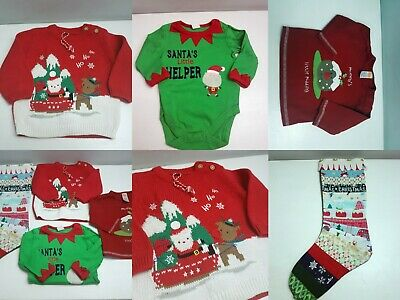 Boys 3-6 Months Christmas Clothing Bundle x 4 Items New Jumper Vest Top Stocking