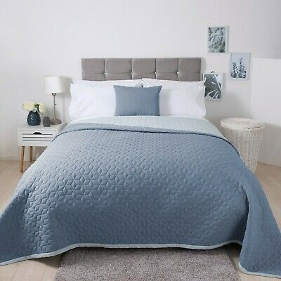 Lightly Quilted Reversible Bedroom Accessories in Duck Egg Blue and Storm Blue