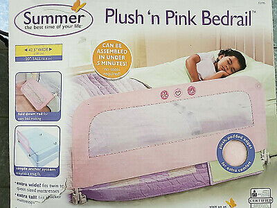 "Plush n Pink bedrail 42.5 wide 20"" tall - fits twin to queen"