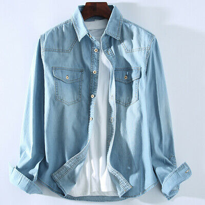 Top Mens Cotton Linen Long Sleeve Slim Classic Fit Solid Chambray Denim Shirt