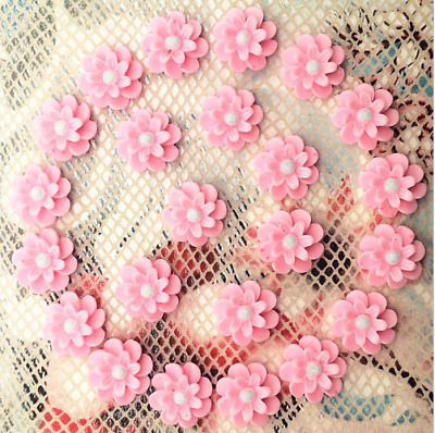 20pcs Resin Flower flatback Appliques For phone/wedding/crafts Pink