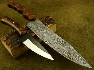 Set of 2 Handmade Damascus Knives Hunting Kitchen/Chef's Knives NEW! 2154-28