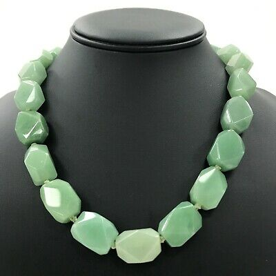 LINEA Green Necklace Jade Women's Bead Evening Bohemian Polished TH281406
