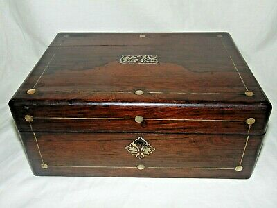 ANTIQUE 1800's MOTHER OF PEARL INLAID ROSEWOOD WORKBOX JEWELLERY BOX with TRAY