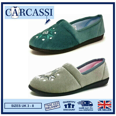 Ladies Womens Teens Grey Teal Faux Fur Patterned Slippers Girls Mules Size 3-8