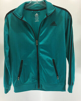 Adidas Girls Zip Up Jacket Two Front Pockets Teal/ Black Medium 10/ 12 Preowned