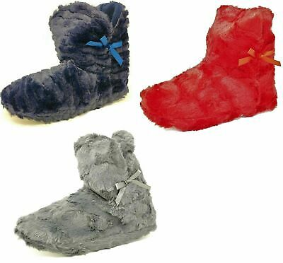 Ladies Teens Girls Blue Grey Red Fluffy Faux Fur Bootie Slippers Size Womens 3-8