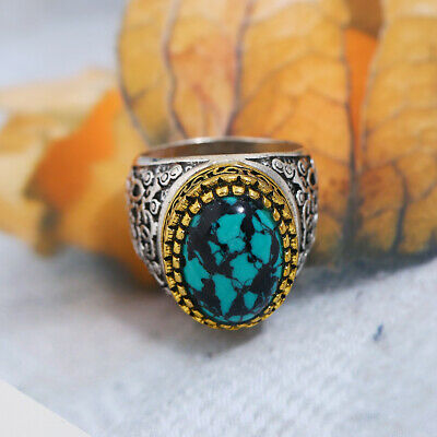 Men's Vintage Ring Ancient Silver Two-tone Imitation Stone Turquoise Ring