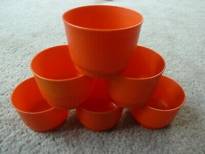 Tupperware 1229 Snack Cups Set of 6 Storage Containers Without Lids 4 oz Orange