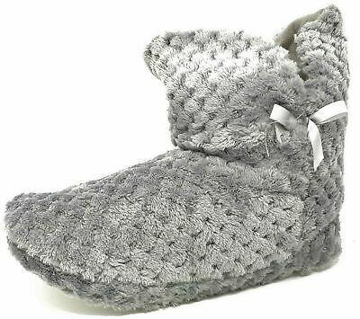 Ladies Teens Girls Grey Fluffy Faux Fur Bootie Bow Slippers Size Womens 3-8