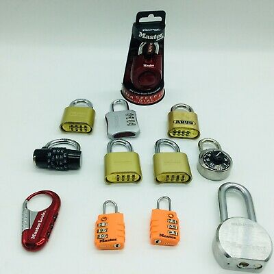 MasterLock Assorted Combination Locks & Padlock No Key Or Combinations Lot Of 12