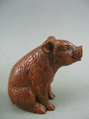 Antique Chinese Collectible Old Boxwood Hand Carved Boar Statue
