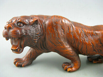 "7""Antique Old Chinese Boxwood Hand Carved Tiger Big Statue Collectible"